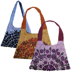 Rococo Handbag made in Guatemala - Trapezoid  Available in Brown, Blue and Purple Tones  Measures 17 wide x 12 high