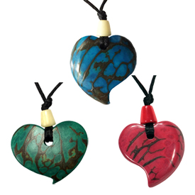 "Tagua Raindrop Pendants - Carved by Artisans of Ecuador   1-1/2"" x 1-1/2"" with cording that has an 18-1/2"" drop"