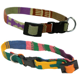 """Handwoven Cotton Cat Collar - available in Brights and Earth Tone Colors Crafted by Artisans in Guatemala Measures 8"""" long and is adjustable"""