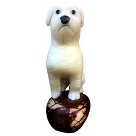 Dutiful Dog Tagua Pet Figurine  Crafted by Artisans in Ecuador  Measures 70mm high x 28mm wide x 45mm deep