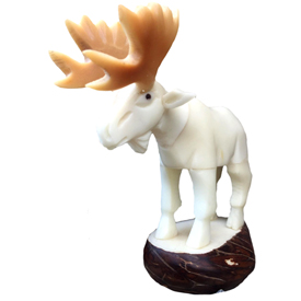 The Moose is Loose Tagua  Figurine  Crafted by Artisans in Ecuador  Measures 98mm high x 41mm wide x 90mm deep