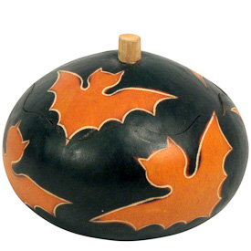 """Small Bat Halloween Gourd Box crafted by Artisans in Peru  Measures 3"""" high x 3-1/2"""" diameter"""