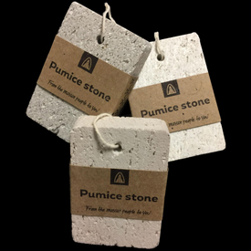 Pumice Stones crafted by Artisans in Guatemala   Each measuring 3 1/4  high x 2 1/4  Highx 3/4 Deep