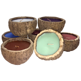 "Brazil Nut Pod Candles with Exotic Scents Crafted in Peru  Measures: ~ 2-1/4 to 2-3/4"" high and 4"" to 4-1/2"" in diameter   Scents include: Cinnamon, Coconut, Eucalyptus, Lavender, Sandalwood, Red Wine and Vanilla"
