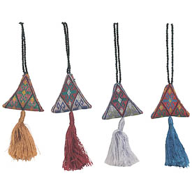"Tawizak Cross-Stitched Zipper Pulls in Assorted Colors from Afghanistan Measures: 4"" high x 2"" wide x 1/2"" deep, with 4-1/2"" drop length"