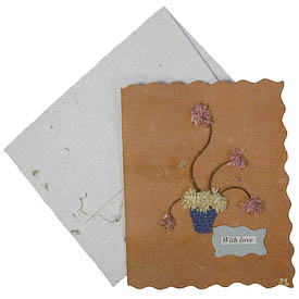 "Mothers Day Card with Dried Flowers crafted by Artisans in Peru from Handmade Paper   Measures 5-1/2"" x 4-1/2"", includes handmade paper envelope"