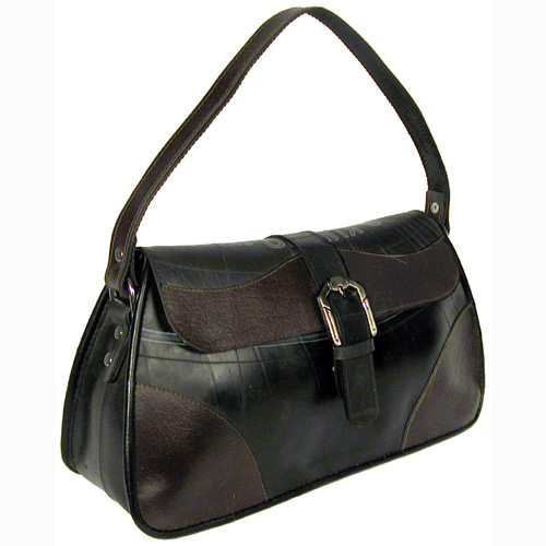 f9e9bd093e97 Medium Tire Tube Handbag w  Buckle Flap and Coffee Accents (Side View)