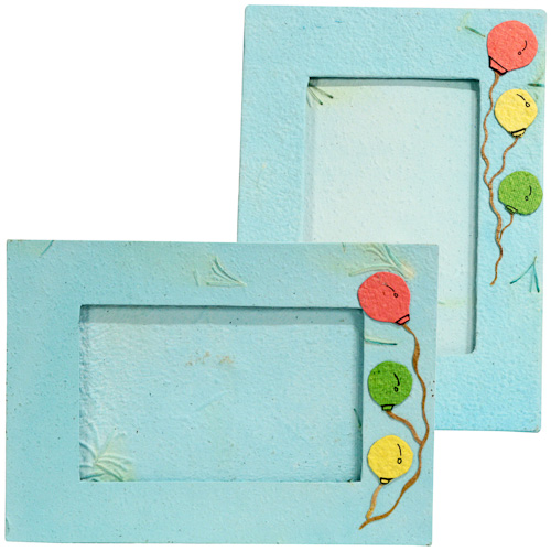 Handmade Blue Paper Photo Frame with Balloon Designs from Peru ...