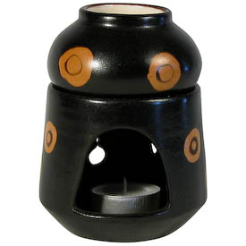 "Black and Orange Incense Burner with Removable Pot and Tea Light crafted by Artisans in Peru   Measures 5"" high x 3-1/2"" diameter"
