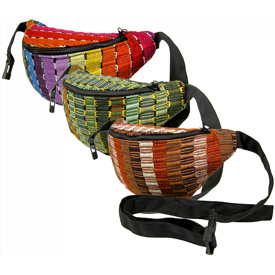 Large Panel Weave Waist Pack from Guatemala Choose from Rainbow, Green, and Brown Tones Large Measures: 10 wide x 5 high x 3 deep Small Measures: 8-1/2 wide x 5 high x 3 deep