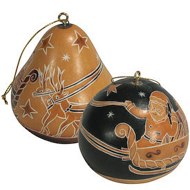 "Santa's Sleigh Gourd Ornaments crafted by Artisans in Peru  Measures 2-3/4"" high x 2-3/4"" diameter"