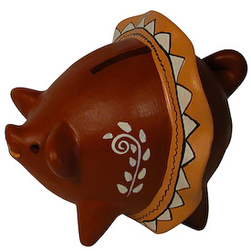 "Muchacha Piggy Bank Crafted by Artisans in Peru Measures 4-1/2"" high x 4"" wide x 5-1/2"" long"