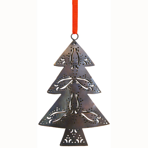 copper christmas tree ornament made from recycled metal