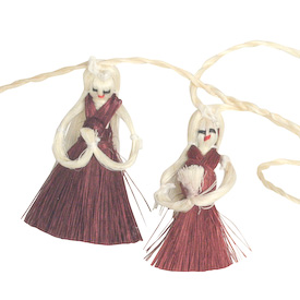 """Medium Angel Garland made with Sisal crafted by Artisans in India   Medium Measures 80"""" in length, angels are 2-1/4"""" in height  Small Measures 65"""" in length, angels are 1=3/4"""" in height"""