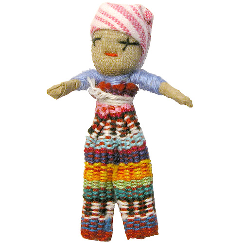 Single Large Worry Doll With Hand Woven Bag From Guatemala