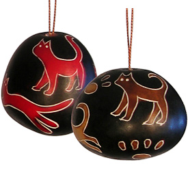 "Ball Shaped Cat Gourd Ornament  from Peru  Measure 2-1/2"" high x 2-1/4"" diameter"