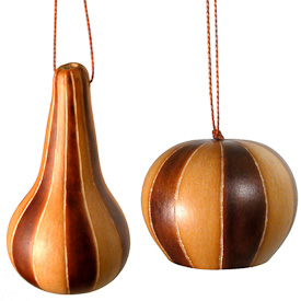 "Abstract Pinwheel Gourd Ornaments crafted by Artisans in Peru  Long Measures 3-1/4"" high x 2"" diameter  Round Measures 1-3/4 high x 2-1/4"" diameter"