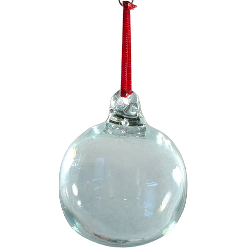 recycled clear glass ball ornament hand blown by artisans in guatemala measures 3 in diameter
