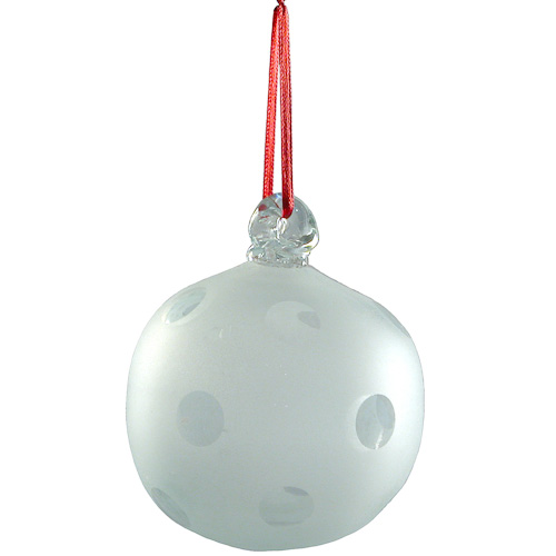 hand blown spotted glass ball ornament from guatemala