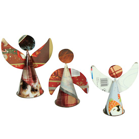 "Set of 3 Recycled Metal Angels  Crafted by Artisans in India  Largest measures 7-3/4"" high"