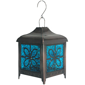 """Bronze Colored Butterfly Lantern  Crafted by Artisans in India  Measures 12"""" high x 5"""" wide x 5"""" deep"""