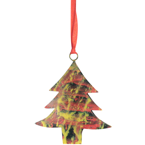 recycled metal christmas tree ornaments crafted by artisans in india measures 4 high x 3 34 wide x 12 deep - Metal Christmas Ornaments