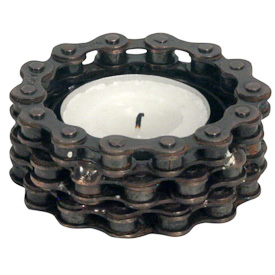 "Bicycle Chain Tea Light Holder Crafted by Artisans in India  Measures 1"" high x 2-1/2"" diameter"