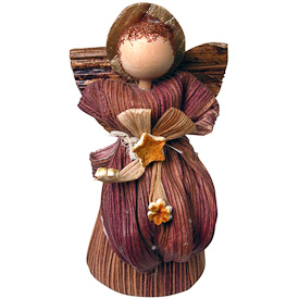 """Standing Corn Husk Angel  Crafted by Artisans in Colombia  Measures 4-3/4"""" high x 2"""" wide x 1-3/4"""" deep"""