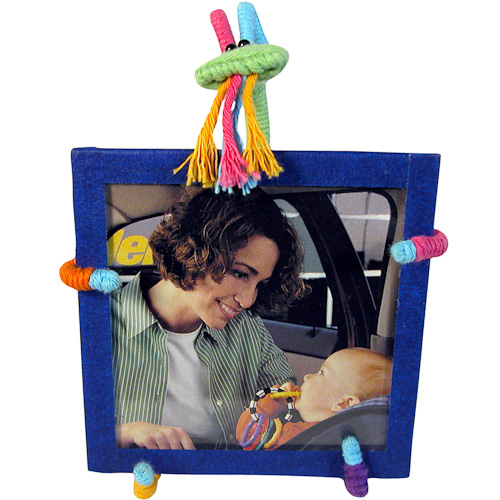 Colorful Cotton And Wire Goat Picture Frame From Colombia Fair