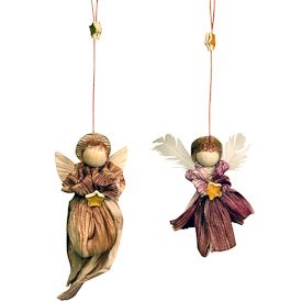 "Corn Husk Angel Ornaments  Crafted by Artisans in Colombia  Large Measures 6"" high x 1-1/2"" wide x 1"" deep  Small Measures 4"" high x 1-1/2"" wide x 1"" deep"
