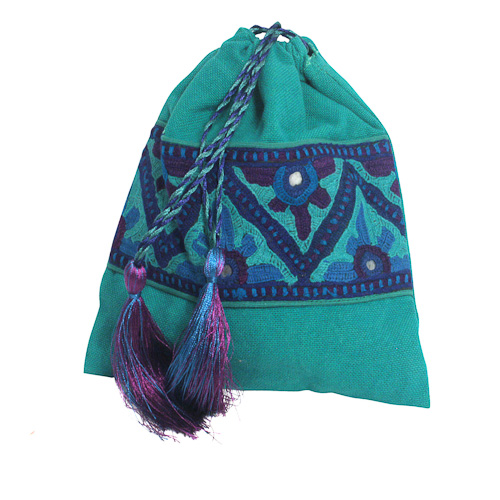 Green Drawstring Bag from Pakistan | Fair Trade | Handmade ...