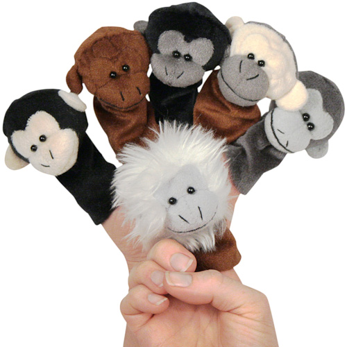 plush monkey finger puppets from colombia fair trade handmade