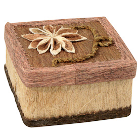 "Square Corocho Box  Crafted by Artisans in Bolivia  Measures 2"" high x 3-1/4"" wide x 3-1/4"""