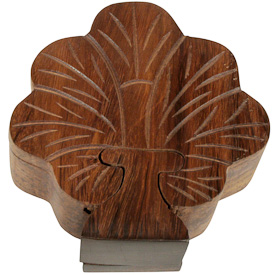 "Tree Shaped Puzzle Box  Crafted by Artisans in India  Measures 1-3/4"" high x 4-3/4"" wide x 5"" deep"
