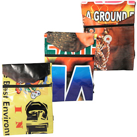 """Backpacks with Assorted Prints, made of recycled billboards  Crafted by Artisans in India  Measure 16-1/2"""" high x 11"""" wide"""