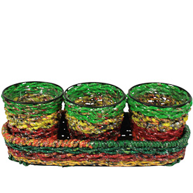 "Set of 3 Recycled Candy Wrapper Planters  Crafted by Artisans in India  Each pot measures 4-1/4"" deep x 4"" diameter"