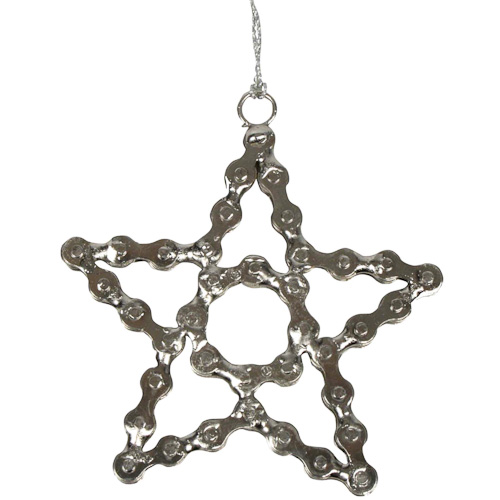 star ornament made of recycled bike chain crafted by artisans in india measures 4 12high x 4 14 wide x 14 deep - Bicycle Christmas Ornament