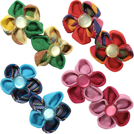 "Cotton Berets with Two Flowers  Crafted by Artisans in Guatemala  Measure 3"" high x 1-1/2"" wide, with 1-1/2"" clip"