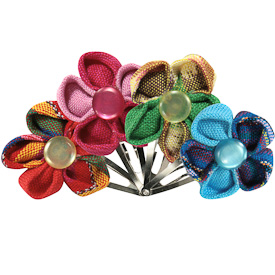 """Cotton Flower Hair Clips  Crafted by Artisans in Guatemala  Measure 1-1/2"""" high x 1-1/2"""" wide, with 1"""" clip"""