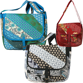 "Patchwork Messenger Bags  Crafted by Artisans in India  Measure 13"" high x 15-1/4"" wide x 3"" deep"