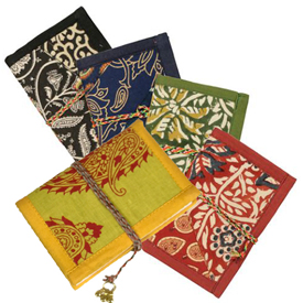 "Small Patchwork Journals with Recycled Fabric Covers Crafted by Artisans in India  Measures 5"" high x 3-1/2"" wide x 48 sheets"