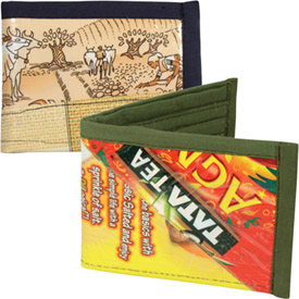 """Assorted Plastic Wrapper Patchwork Wallets  Crafted by Artisans in India  Measure 3-1/2"""" x 4-1/2"""" when closed"""