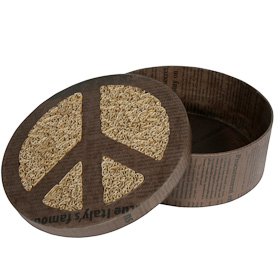 """Large Recycled Paper Peace Box  Crafted by Artisans in the Philippines  Measures 2-5/8"""" high x 7-3/8"""" diameter"""