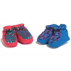 Hand-Woven Pink and Blue Baby Booties  Available in Small, Medium and Large Sizes