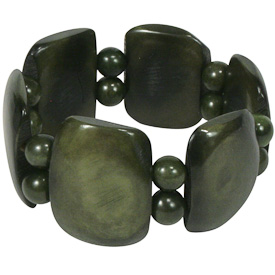 """Avocado Tagua Bracelet  Crafted by Artisans in Colombia  Measures 1-1/4"""" wide x variable elastic diameter"""