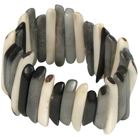 """Black and Grey Tagua Stick Bracelet  Crafted by Artisans in Colombia  Measures 1-1/2"""" wide, with variable elastic diameter"""