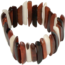 "Brown and White Tagua Stick Bracelet  Crafted by Artisans in Colombia  Measures 1-1/2"" wide, with variable elastic diameter"