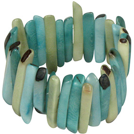"Green and Blue Tagua Stick Bracelet  Crafted by Artisans in Colombia  Measures 1-1/2"" wide, with variable elastic diameter"