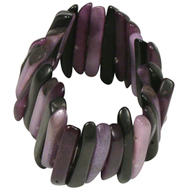 "Purple and Black Tagua Stick Bracelet  Crafted by Artisans in Colombia  Measures 1-1/2"" wide, with variable elastic diameter"