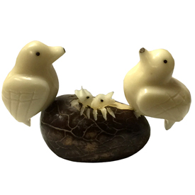 "Caring Doves Tagua Figurine  Crafted by Artisans in Ecuador  Measures 2-1/4"" high x 3"" wide x 1-1/2"" deep"
